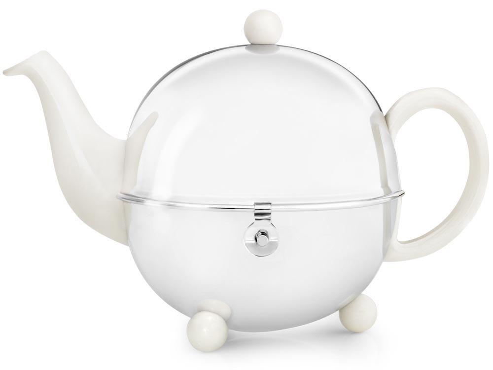 Schöne weiße Teekanne Cosy 1, 3 Ltr. mit isolierendem Edelstahlmantel poliert von Bredemeijer inkl. Teefilter (für losen Tee) 1302W