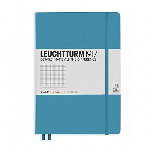 "LEUCHTTURM1917 Nordic Blue Hard Cover Journal, Medium (A5) 5.71"" x 8.27"" - Squared"