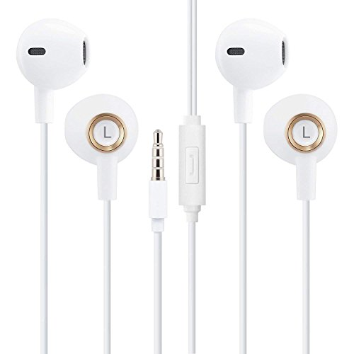 2 Pack Heavy Bass Ceramics Stereo Earbuds with Microphone an