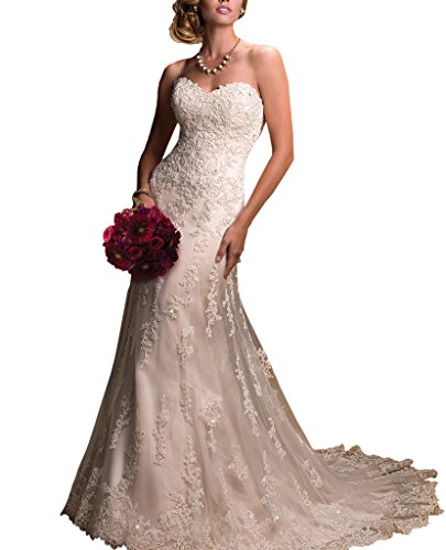 Pretygirl Women's Sweetheart Tulle Lace Wedding Dress Off the Shoulder Evening Dress (Ivory,US12)