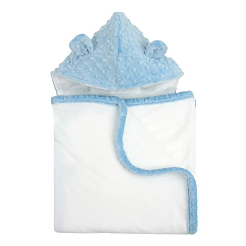 My Blankee Organic White Pima Cotton with Minky Dot Hood & Ears Terry Towel, Blue, 26