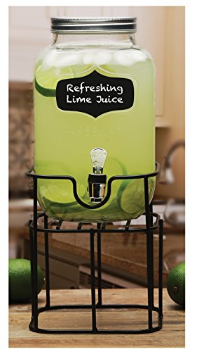 Circleware Chalkboard Yorkshire Mason Jar Glass Beverage Drink Dispenser with Black Metal Stand, 1 gallon, Clear