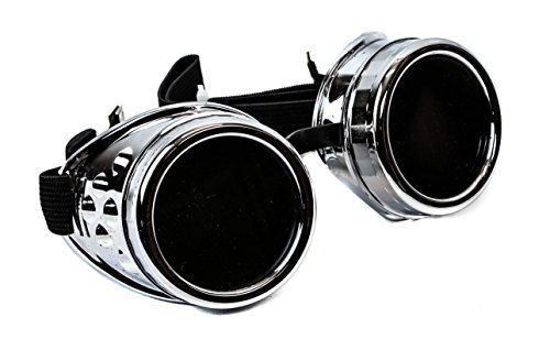 Plain Silver Cosplay Goggles Mad Scientist Wielder Glasses DIY Halloween - Guys For Costumes With Halloween Glasses