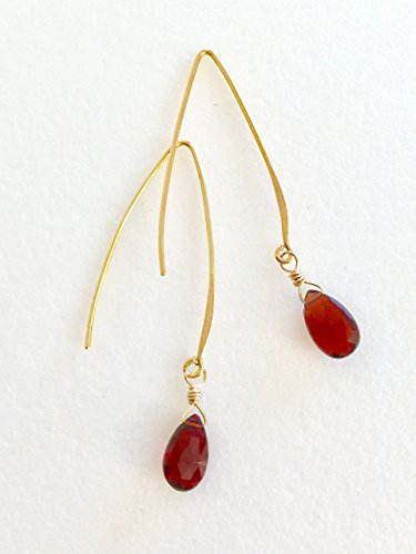 - Garnet Earrings, January Birthstone, Red Garnet Briolettes, Luxe AAA, Burgundy Red, 24K Gold Vermeil, Sterling Silver.