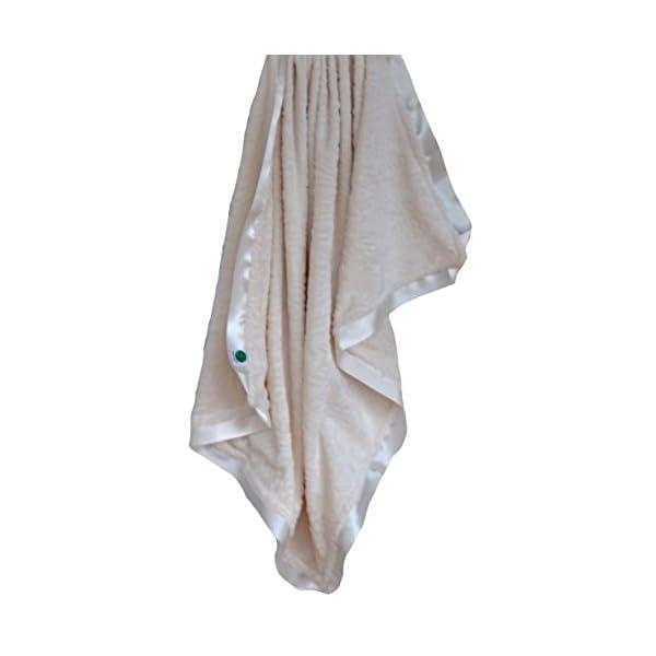 Cozy Wozy Paisley Minky Baby Blanket with Coordinating Satin Ribbon Trim, Ivory, 30″ x 36″