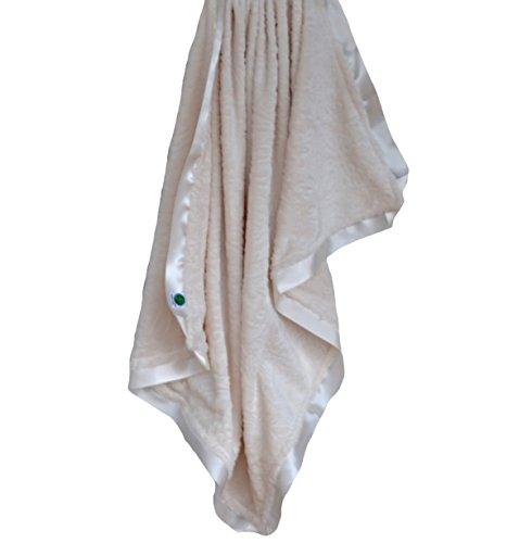 Ivory Satin Trim (Cozy Wozy Paisley Minky Baby Blanket with Coordinating Satin Ribbon Trim, Ivory, 30