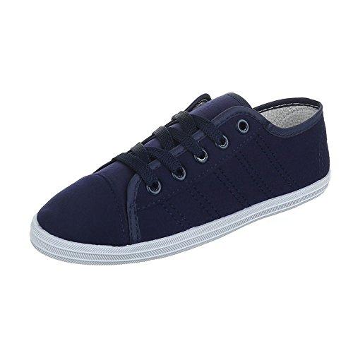 Ital-Design Low-Top Sneaker Damenschuhe Low-Top Schnürer Schnürsenkel Freizeitschuhe Blau