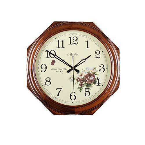RFRF Wall Clock European Solid Wood Fashion Creative Simple Quiet Living Room Bedroom Decor 22 cm X32 cm