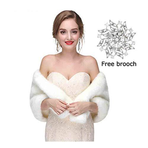 Yfe Women's Faux Fur Shawls Wraps Wedding Fur Stole Shrug Cape For Women Warm Scarf (White) ()