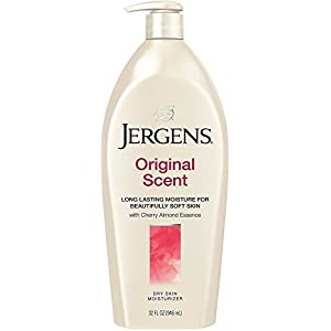 Jergens Original Scent Dry Skin Body Moisturizer with Cherry Almond Essence (21 Ounces) + Travel Size Jergens Ultra Healing Extra Dry Skin Moisturizer for Body