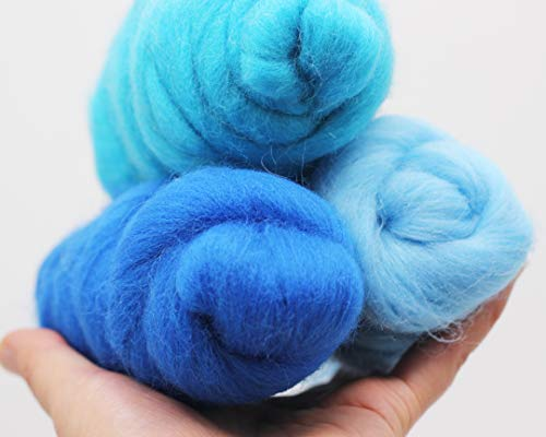 3 2OZ Kit Merino Wool Roving Top - Blue Tone 21um Needle Felting DIY Craft Materials 3.3 Yards (Blue Tone-6OZ))
