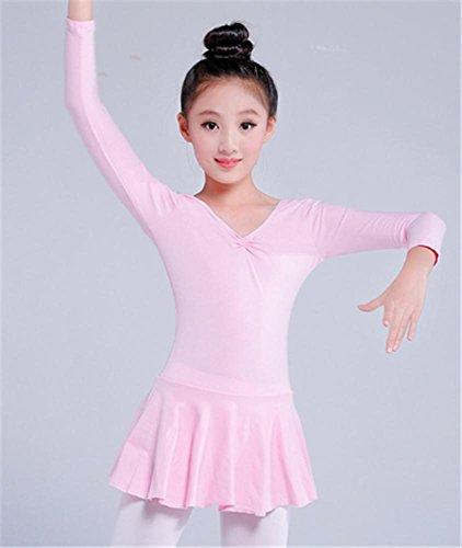 Pink Pour Longues Leotard Courtes De manches B Enfants manches D'entraînement Ballet Peiwen Confortable P6wCgqpqx