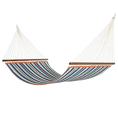 East Coast Hammocks Large Polyester Quilted Hammock - Red and Blue Stripe - East Coast Hammocks quilted hammocks are selected for their color patterns and great value. This quilted fabric hammock offers a traditional look for your backyard. Quilted Hammocks are the easiest to get into and provide the most stability! The fabric is a Comfortable WEATHER-RESISTANT fabric and padded with polyfiber filling to provide extra comfort for extended laying and naps. The spreader bars are sanded and varnished to withstand the elements and wood's natural beauty. The grommets connect the body to the ring knots and spaced 2 inches apart for strength and higher weight capacity. - patio-furniture, patio, hammocks - 41%2B0UYo8iCL. SS400  -