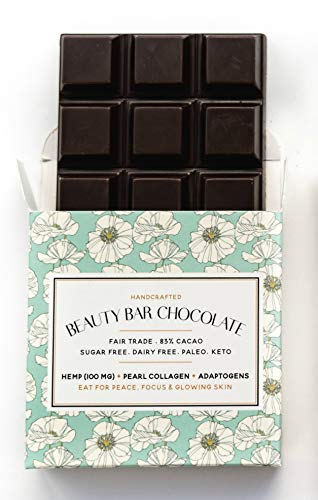 Beauty Bar Chocolate   Original Hemp   Collagen Calm Dark Chocolate   Natural Handcrafted Dairy Free, Gluten Free, Paleo, Fair Trade Dark Chocolate   2.1oz Each