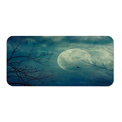 Horror House Decor Custom Mouse Pad,Halloween with Full Moon in Sky and Dead Tree Branches Evil Haunted Forest for Electronic Games Office,15.75''Wx23.62''Lx0.08''H ()