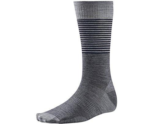 Smartwool Men's Tailored Stripe Crew Medium Gray Socks LG (Men's Shoe 9-11.5)