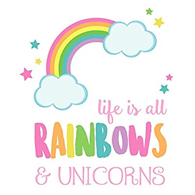 Life is All Rainbows and Unicorns Wall Decal | Girl's Room décor | Wall Stickers: Baby