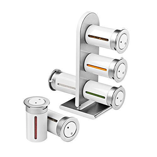Zevro KCH-06096 Zero Gravity Countertop Magnetic Spice Rack with Canister, White/Silver - Set of 6
