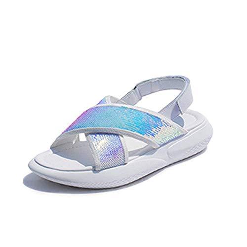 Oudan coloré Pour Semelle Taille Blanc 39 Plates D'été À Femmes Sandales Chaussures Compensée Avec Blanc gxIrgv