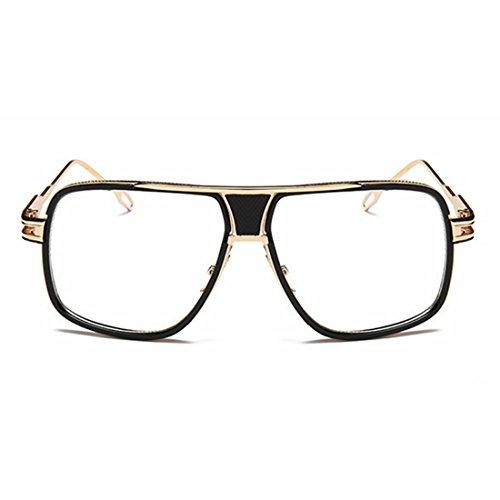 Metal Lens Color Gold Hommes Lunettes Protection De pour Polarized UV Black Aviator Clear Frame Femmes Soleil Mirror 400 Sakuldes Bqw6OSUtn