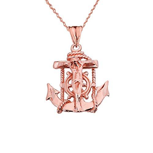 Exquisite 14k Rose Gold Nautical Jesus Christ Crucifix Cross Anchor Pendant Necklace, 16