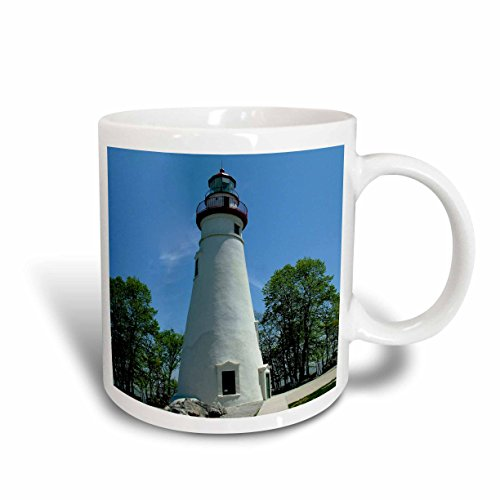 3dRose 61708_6 Marblehead Lighthouse Looking Over Lake Erie Two Tone Mug, 11 oz, ()