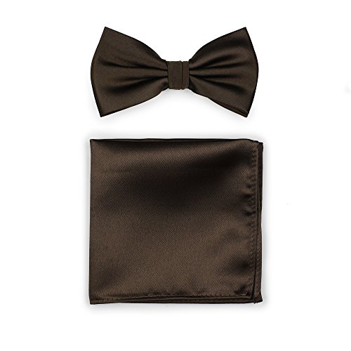 Bows-N-Ties Men's Solid Adjustable Pre-Tied Bow Tie and Pocket Square Set (Chocolate Brown) (Bow Tie Solid Chocolate)