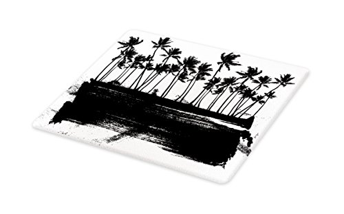 Lunarable Hawaii Cutting Board, Black and White Color Exotic Island Hand Drawn Summer Scene Windy Weather Tropical, Decorative Tempered Glass Cutting and Serving Board, Large Size, Black White by Lunarable