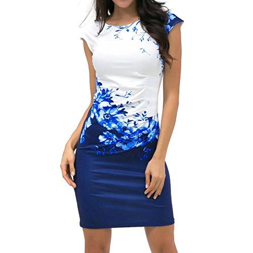 Yiitay Estate Donna Manica Corta Floral Print Vestito Elegant Girocollo Abito Bodycon Vestito Taglia Grossa