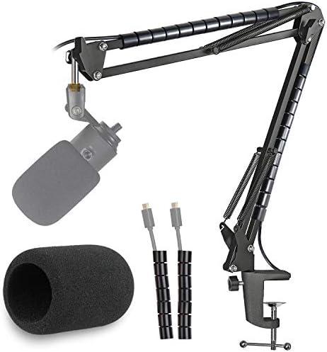 K669 Microfoon Boom Arm Microfoon Stand Foam Cover Voorruit en Kabel Sleeve Compatibel met Fifine K669 669B USB Podcast Microfoon voor opname en streaming door YOUSHARES