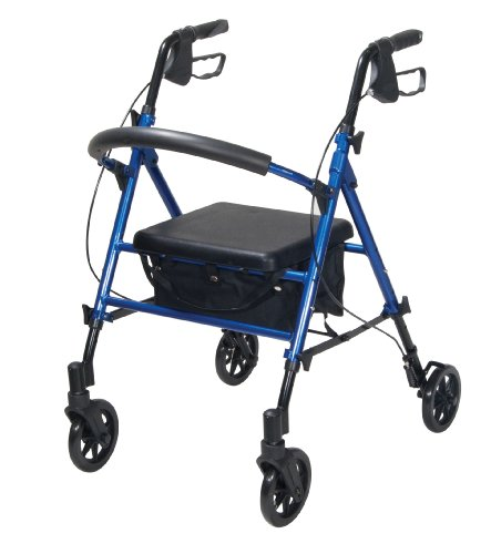 Drive Medical Adjustable Height Rollator with 6 Inches Wh...