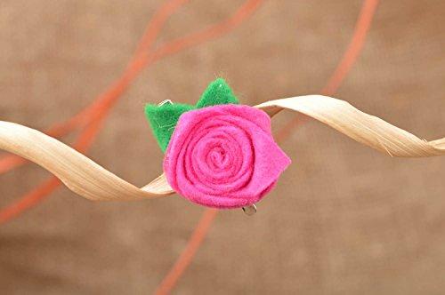Handmade designer small pink felt rose flower brooch hair clip