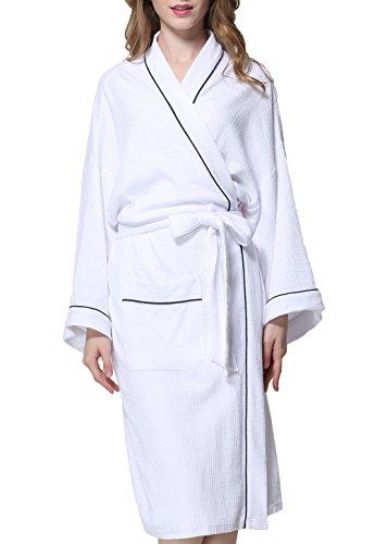 Coser Paradise Adult Unisex Bathrobe Waffle Cotton Rabe Spa Robe Sleepwear White - Rabens White