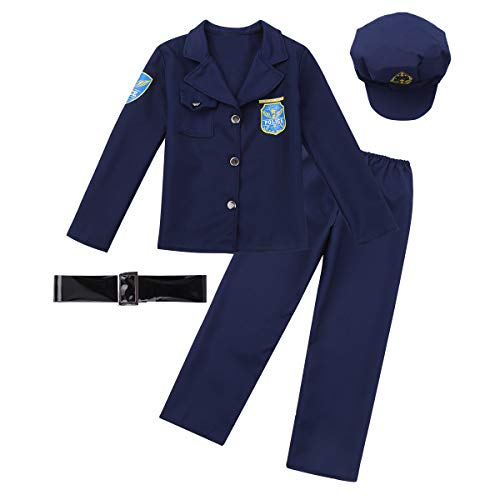 CHICTRY Kids Boys Girls Classic Police Officer Costume 4 Pieces Policeman Uniforms Role Play Dress up Set Navy Blue ()