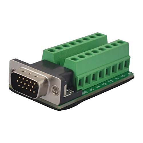 - Uxcell a16042100ux1134 D-Sub DB15 VGA Male 3 Row 15 Pin to Terminal Breakout Board Adapter, 1.22
