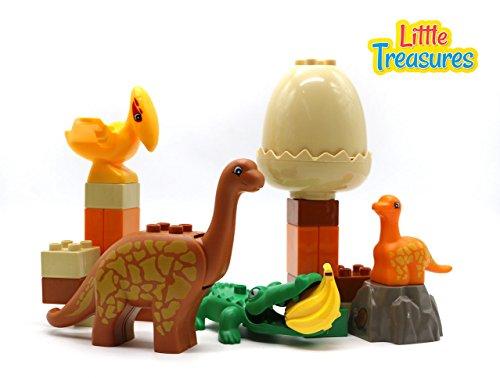 Duplo Dinosaurs - Little Treasures Prehistoric 28 Piece Building Block Dinosaur Play Set with Alligator, Pterodactyl and Brontosaurus, Compatible Building Brick Playset