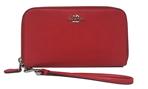 COACH Double Zip Accordion Wristlet / Phone Wallet in Silver / Bright Red 53891 by Coach