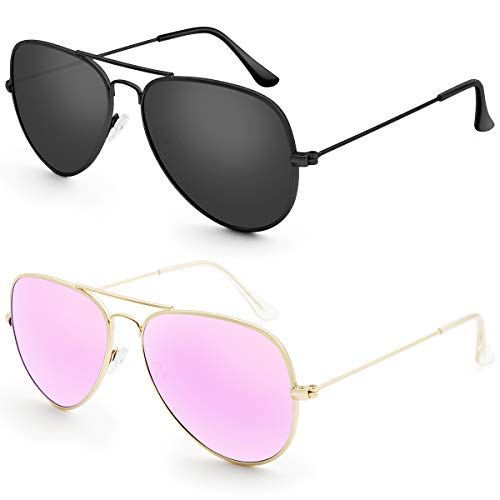 Livhò G Sunglasses for Men Women Aviator Polarized Metal Mirror UV 400 Lens Protection (Black Grey + Gold Purple)