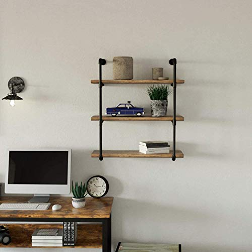 IRONCK Industrial Shelving Pipe Shelf 3-Tier, Planks Included, Rustic Home Decor Wall Decor, Wall Shelves for Bedroom… 5