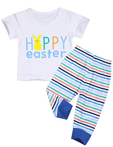 Easter Outfit Newborn Baby Boy Happy Easter Cute Bunny Short Sleeve T-Shirt and Stripe Pants Clothes Set 2PCS (0-6 Months) ()