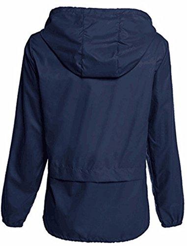 Raincoat Girls Luoluoluo Women's Outdoor Windbreaker Jacket Lightweight Coats Waterproof Rain Hooded Ladies Navy Packable Coats wFFxS
