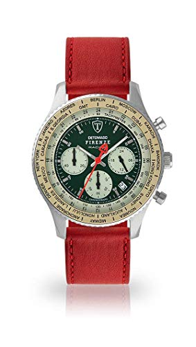 DETOMASO Firenze Mens Watch Chronograph Analogue Quartz Dark red Leather Strap Green dial DT1069-B-824