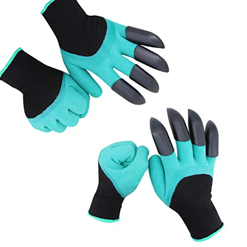 HAODE FASHION 2 Pairs Garden Genie Gloves with Fingertips Claws on Each Hand- for Right Handers & Left Handers- for Digging and Planting- for Rose Pruning- for Women & Men Gloves
