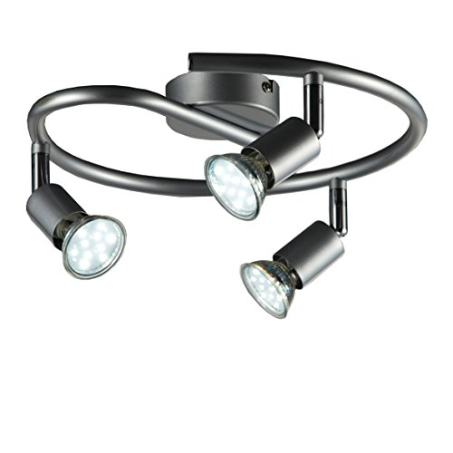 B.K.Licht – Lámpara de techo con 3 focos LED GU10, focos ajustables y giratorios para interiores, de luz blanca cálida…
