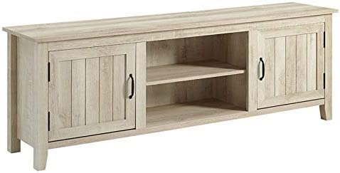 Pemberly Row Farmhouse Rustic Wood Barn Door 70 TV Stand Console with Storage in White Oak