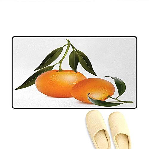 Tangerine Stair Tread - Door Mats,Fresh Tangerine with Green Leaves Citrus Fruit Themed Illustration,Bath Mats for Bathroom,Orange Olive Green,Size:24