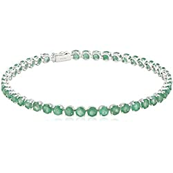 14k White Gold and Round Precious Gemstone Tennis Bracelet