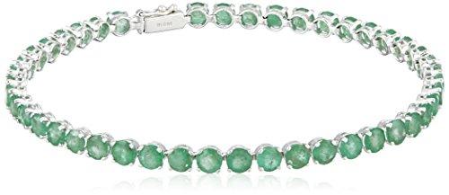 "14k White Gold Round Emerald Tennis Bracelet, 7"""