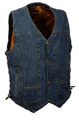 Milwaukee Leather Men's 10 Pocket Side Lace Denim Vest (Blue, L)