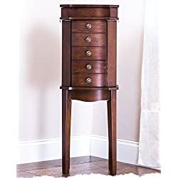 Hives & Honey Meg 5-Drawer Walnut Jewelry Armoire with Mirror Wood Box Storage Chest Cabinet Organizer